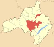 Ο Δήμος Κοζάνης (με σκούρο κόκκινο), εντός του ομώνυμου νομού.