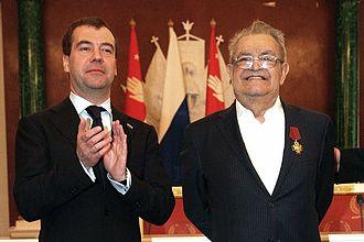Fazil Iskander - Iskander being awarded the Order of Merit for the Fatherland by President Dmitry Medvedev, 2010.