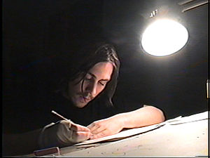 Don Hertzfeldt - Hertzfeldt at his animation desk during production of The Meaning of Life