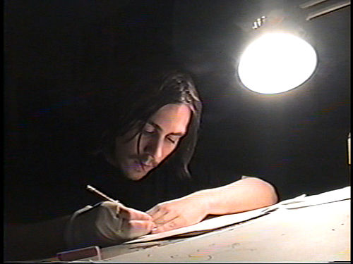 Hertzfeldt at his desk during the production of The Meaning of Life