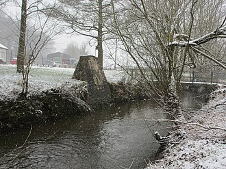 Royal Shrovetide Football - Down'Ards purpose-built goal at Clifton Mill, downstream from the plinth at Shawcroft
