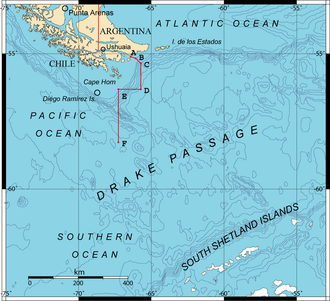 Drake Passage - Drake Passage showing the boundary points A, B, C, D, E and F accorded by the Treaty of Peace and Friendship of 1984 between Chile and Argentina