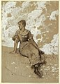"Drawing, A Seated Girl; study for ""The Garden Wall"", 1878 (CH 18174883-2).jpg"