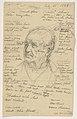 Drawing, Hiram Sibley's Head, many notes, 1885 (CH 18566769).jpg