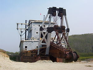 The 'business end' (excavator) of a Yukon dredge.
