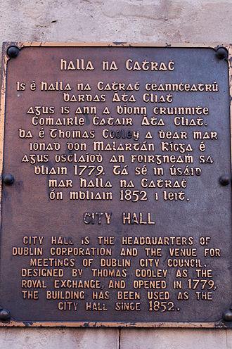 Gaelic type - Image: Dublin City Hall information