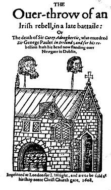 Dublin Gate 1608 displaying the heads of Irish rebels Cahir O'Doherty and Felim Riabhach McDavitt.jpg