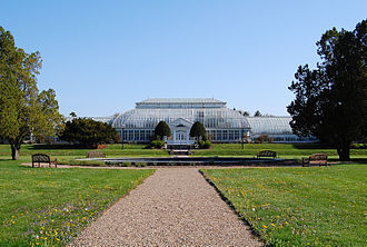 Duke Gardens (New Jersey) - Approach to Duke Gardens, showing Trumbauer conservatory housing Semi-tropical, Italian, and Colonial Gardens