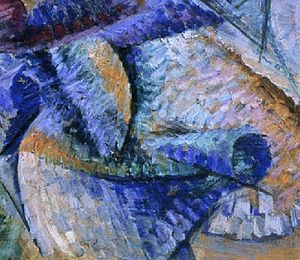Dynamism of a Cyclist - Image: Dynamism of a Cyclist, Boccioni, detail