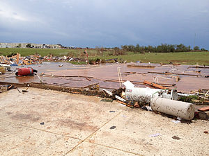 2013 Moore tornado - A large, well-built home that sustained EF5 damage in eastern Moore.