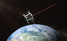 ESTCube-1 micro satellite orbiting globe and beaming light to Estonia