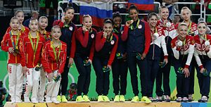 Gymnastics at the 2016 Summer Olympics – Women's artistic team all-around - The United States, Russia, and China accepting their medals