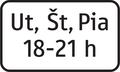 E 12 - Dodatková tabuľka s textom, časové ohraničenie dni a hodiny (vzor) 2.png