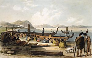 Early naval vessels of New Zealand - Waka taua (war canoes) at the Bay of Islands, 1827-8