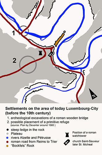 Duchy of Luxemburg - Image: Early settlements in Luxbrg City english