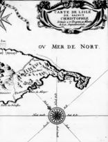 French and English partitions of west St. Kitts.  Note the location of Fort Charles and the sulfur mine further to the west.
