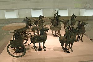 Emperor Guangwu of Han - Eastern Han bronze chariot and cavalry figurines excavated from a tomb