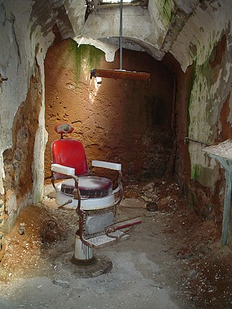 Eastern State Penitentiary - The remains of the barber shop.