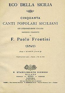 La prima raccolta di canti siciliani, ed. Ricordi 1883