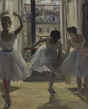 Waiting (Degas) - Three Dancers in an Exercise Hall, 1880 Oil on canvas