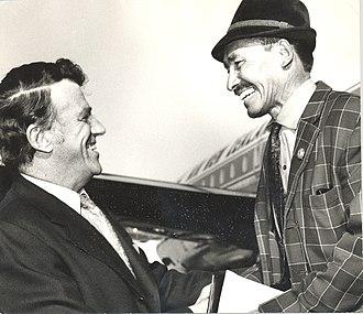 Tenzing Norgay - Sir Edmund Hillary greets Tenzing Norgay, circa 1971.