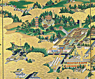 Tokugawa Hidetada - Shogun Iemitsu visiting Taitoku-in Mausoleum, as depicted in the Edo-zu byōbu screens (17th century)