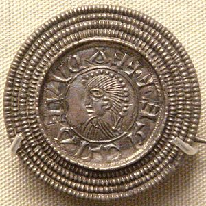 Edward the Elder - Silver brooch imitating a coin of Edward the Elder, c. 920, found in Rome, Italy. British Museum.