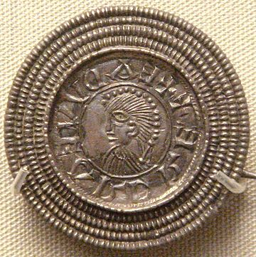 Silver brooch imitating a coin of Edward the Elder, c. 920, found in Rome, Italy. British Museum. Edward the Elder coin imitation silver brooch Rome Italy c 920.jpg