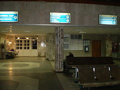 Ekibastuz-2 railway station. Main hall, night. 2009.JPG