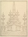 Elevation of a Catafalque- Two Pedestals with Candelabra at Sides; with Central Obelisk Surrounded by Candelabra.Verso- Sketch of architecture- archway and corner with pillars. MET DP820181.jpg
