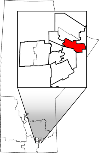 Elmwood—Transcona - Elmwood—Transcona in relation to other Manitoba federal electoral districts as of the 2013 Representation Order. Dotted line shows Winnipeg city limits.