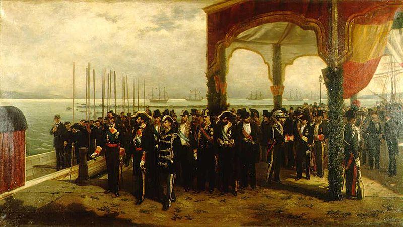 Archivo:Embarque del rey Amadeo en el puerto de Spezia obra de Luis Alvarez Catala.jpg