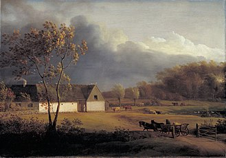 Ordrup - The Ordrup farm Eigaard  painted by Jens Juel in c. 1793