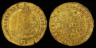 Triple Unite (English coin) - Image: England (Great Britain) 1644 Triple Unite of Charles I