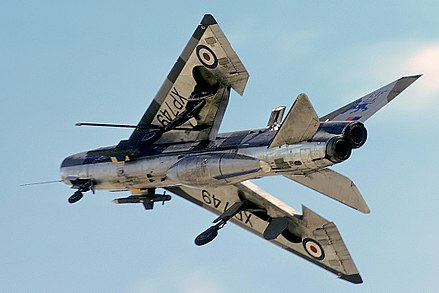 Underside of a Lightning F.3 with undercarriage deployed, 23 June 1979 - English Electric Lightning
