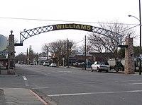 Entrance arch to Williams, California.jpg