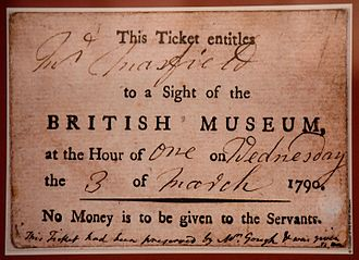 Entrance ticket to the British Museum, London 3 March 1790 Entrance ticket to the British Museum, London March 3, 1790.jpg