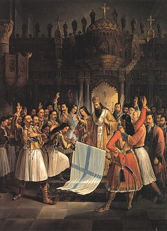 National colours of Greece - An 1852 oil painting by Theodoros Vryzakis illustrating bishop Germanos III of Old Patras blessing the blue and white Greek banner at Agia Lavra at the outset of the national revolt against the Ottoman Empire on 25 March 1821.