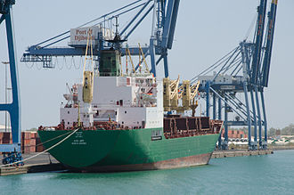 Port of Djibouti - An Ethiopian cargo ship docked at the Port of Djibouti.
