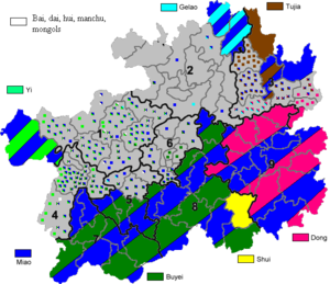 Ethnic minorities in China - Major Autonomous areas within Guizhou. (excluding Hui)