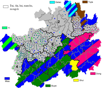 Autonomous administrative divisions of China - Major Autonomous areas within Guizhou. (excluding Hui)