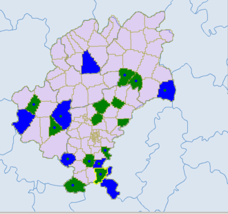 Ethnic townships of the People's Republic of China - Blue - miao. Dark green- Bouyei