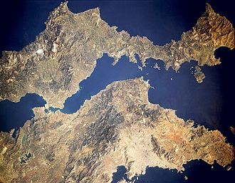 South Euboean Gulf - Satellite picture of the South Euboean Gulf, with Euboea on top and the mainland below