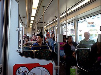 Expo Line (Los Angeles Metro) - Interior of a westbound train, first day of operation to Culver City