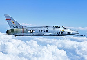 North American F-100 Super Sabre - A F-100D Super Sabre over Rogers Dry Lake