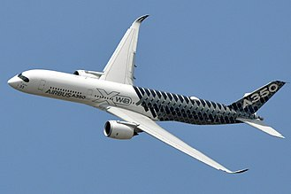 Carbon fiber reinforced polymer - A composite Airbus A350 decorated in carbon fiber