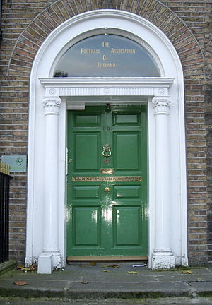 Football Association of Ireland - The door of the former FAI offices in Merrion Square, Dublin.