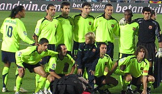 Thiago Motta - Motta (back row, third from right) lining up for Barcelona during the 2005–06 season.