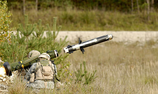 A soldier launches a FGM-148 Javelin anti-tank missile