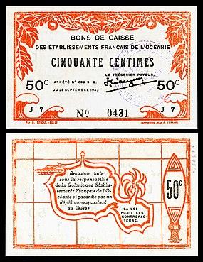 Банкнота достоинством 50 сантимов времен Второй мировой войны (1943 г.), напечатанная в Папеэте, с изображением контура Таити (вер.).